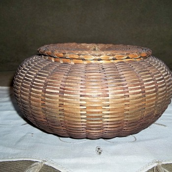Maine Native American Sea Urchin Basket,  1880-1900