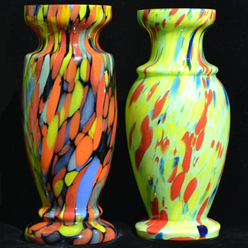 Czech spatter vases - Art Glass