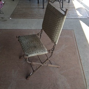 Iron Chair with Woven Leather Seats - Furniture