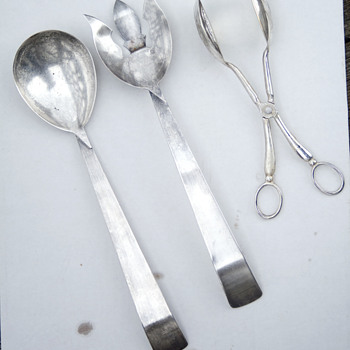 Ambassador spoons and E.P. Zinc from Italy salad tong