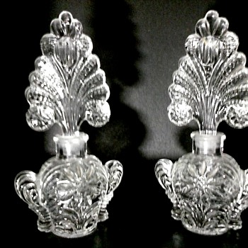 "Pair of 7"" Imperial or U.S. Glass for Irice Fan Perfume Bottles/Circa 1930-40 - Bottles"