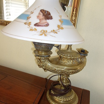 Antique Heavy Genie Lamp base with Painted Glass Shade - Lamps