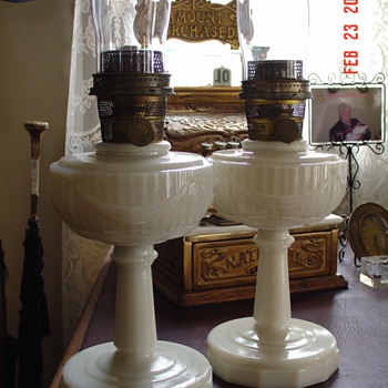 1930's  Alacite Tall Lincoln Drape Aladdin Oil Lamps  - Lamps