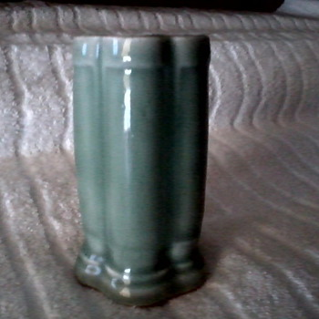 Small Celadon Green Five Sided Column Vase / No mark