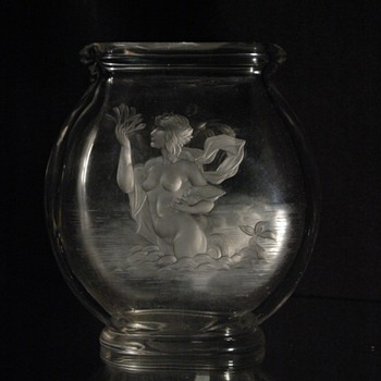 "rare victorian baccarat vase ""amphitrite""  with an engraved maiden."