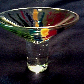 Small Art Glass Sherbert-Compote-Pedestal Dish /Colorful Spatter Pattern Bowl / Signed /Unknown Age
