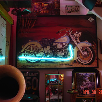 Picture Of Harley Davidson Pan Head...Neon Exhaust  - Motorcycles