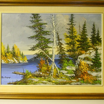 "Muskoka Lake Autumn , Landscape painting on Board""Cole Bowman""Canadian Artist, Circa 1960-70 - Visual Art"