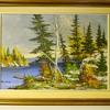 "Muskoka Lake Autumn , Landscape painting on Board""Cole Bowman""Canadian Artist, Circa 1960-70"