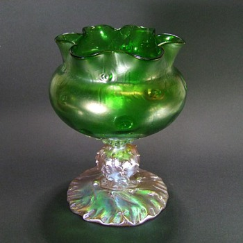 Early Signed Loetz Rusticana Centerpiece Vase c. 1900 - Art Glass