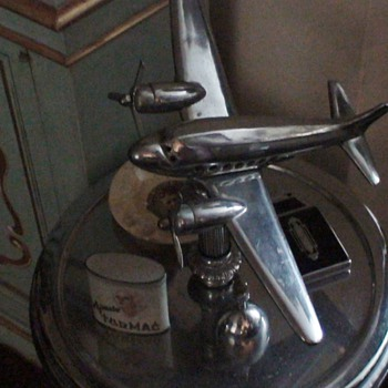 Art Deco Airplane Lighted Smoking Table
