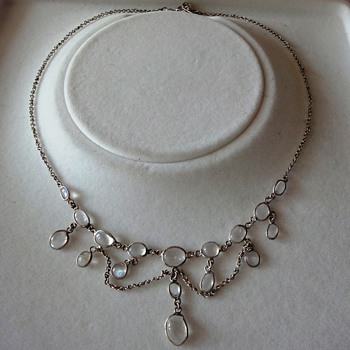 Victorian Silver Moonstone Necklace - Fine Jewelry