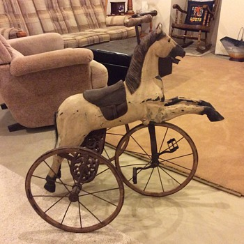 Horse tricycle, no identifying badges or printing anywhere