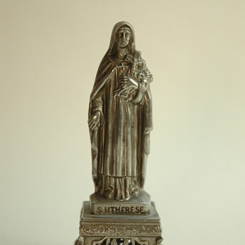 antique french SAINTE THERESE spelter figure