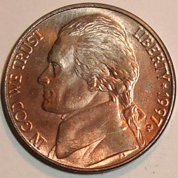 us error coin sale,1997-p Improper Annealing jefferson nickel error shiney red copper look