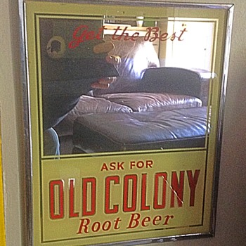 1950s Old Colony Root Beer advertising mirror