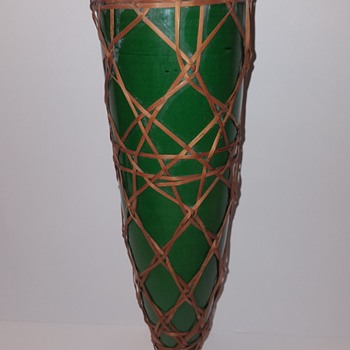 Awaji Pottery Wall Pocket Vase With Basketry