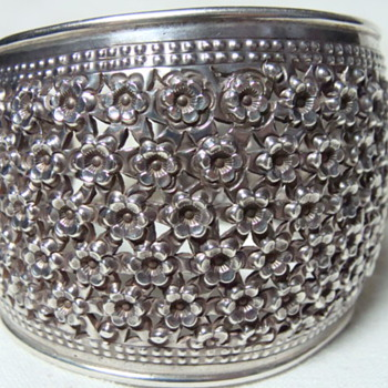 Huge Pierced Silver Flower Bracelet - Fine Jewelry