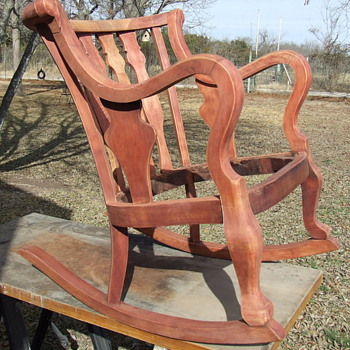 great old rocking chair in restoration - Furniture