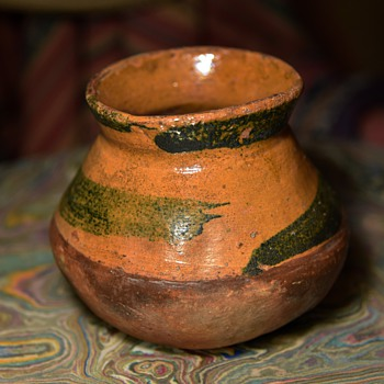 1940s[?] Redware Pot with a Green Snake Design