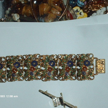 Antique Enamel and Green Stones Bracelet