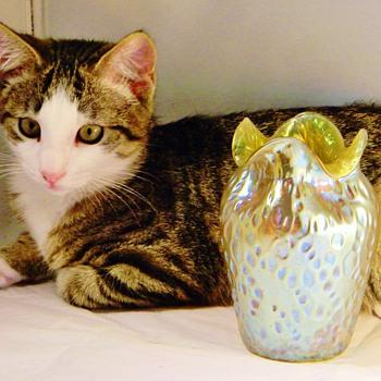 """Loetz Candia Silberis Diaspora Vase Ruffled Rim Vase 1902? """"Loetz"""" Kitty - Art Nouveau"""