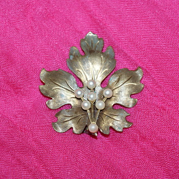 Vintage Brass and Faux Pearls Brooch