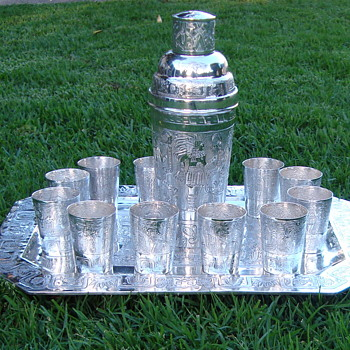 Our beautiful Mexican antique silver cocktail set