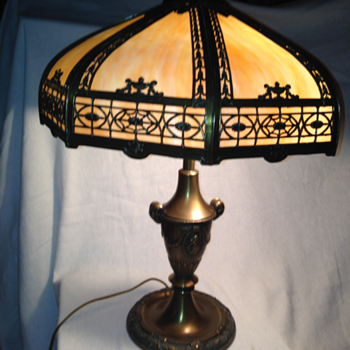 Gram's Antique Lamp - Slag Glass Table Lamp - Lamps