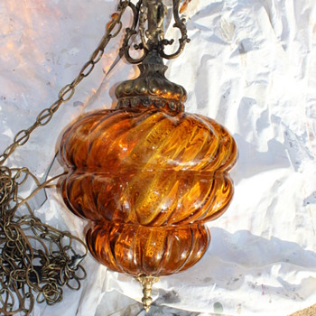 Swag or pendant lamp with brass cherub - Lamps