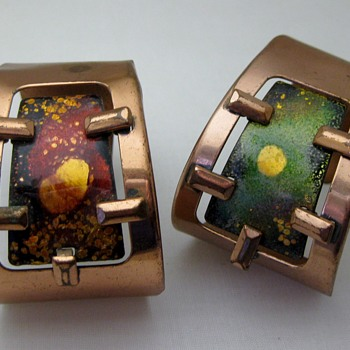 Mid-century atomic asymetrical copper enamel cuffs by Matisse