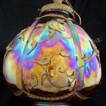 1950s Hollywood Regency Carnival Glass Hanging Lamp
