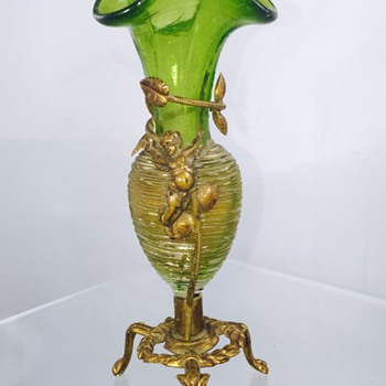 Bohemian? French? Green w/Crystal Threading Metal Cherub Mounted Vase  - Art Glass