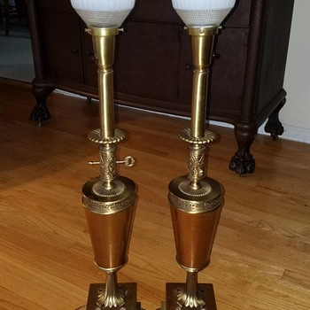 Pair of Colonial Premier Co lamps