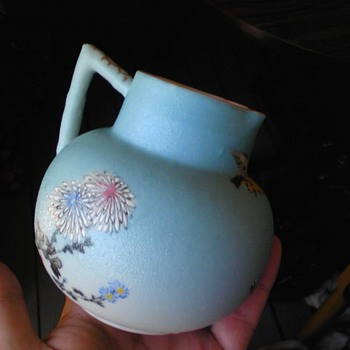little peacock blue asian pitcher - meiji era sharkskin glaze - Asian