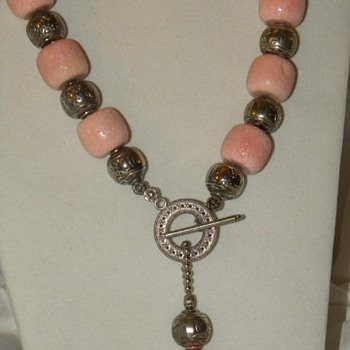 Identify? Huge Pink Stone Necklace - Modern - Costume Jewelry