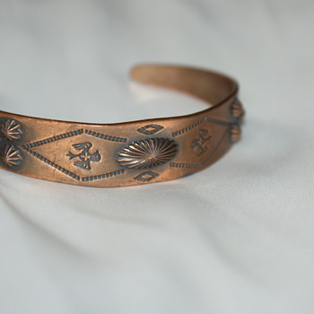 Vintage Copper Native American Themed Cuff Bangle - Costume Jewelry