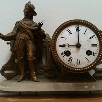 "Antique French brass ""Troubadour"" 1870's mantle clock."