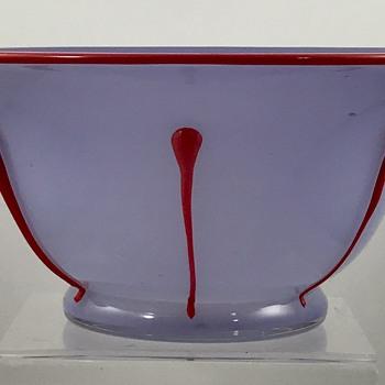 Loetz Ausführung 216 Bowl, opalviolett m. kaiserrot, PN III-2028, ca. 1924 - Art Glass