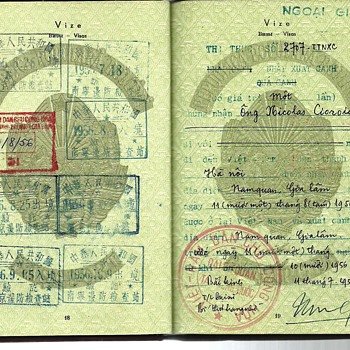 North Vietnamese Diplomatic visa from Beijing -  1956 Romanian Diplomatic passport - Paper