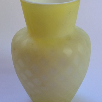 Victorian diamond quilted satin glass vase