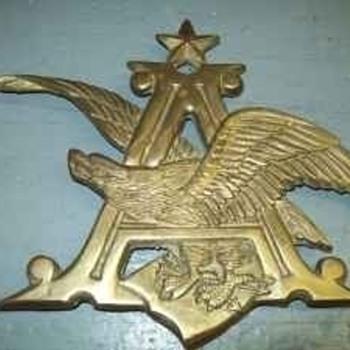 Brass Anheuser Busch A & Eagle - Breweriana