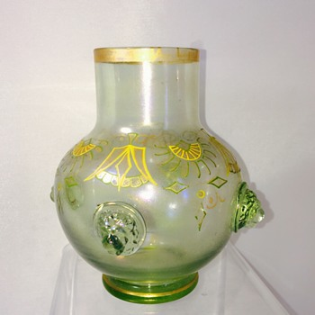 Nouveau Fritz Heckert Lions Head Prunt Enamelled Vase  - Art Glass