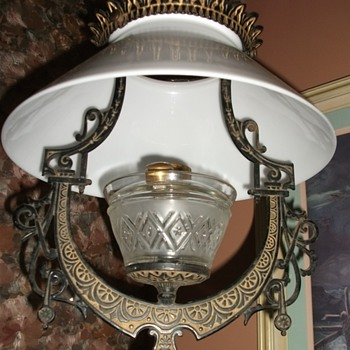 1870's Lomax Eastlake cast iron hanging oil lamp - Lamps