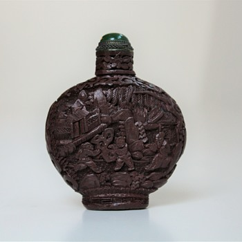 Organic Lacquer Cinnabar Snuff Bottle - Asian