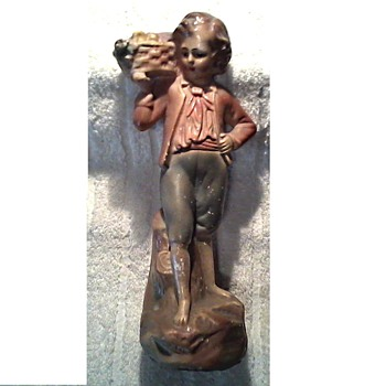 Neopolitan Figure with Basket /Chalkware Figurine/ Unknown Maker Circa 1930's - Figurines