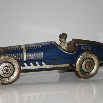 Mettoy 1930 wind up race car tin toy 410
