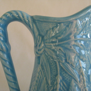 Beautiful turquoise pitcher/vase with wheat, fern and rope detail - Art Pottery
