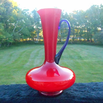Red and Blue Art Glass Pitcher - Art Glass