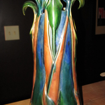 "In the style of Tiffany ""Jack in the pulpit""..???...Unmarked - Art Pottery"